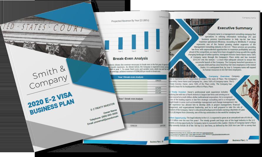 E-2 visa sample cover plan-1